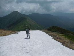 ▲銀玉水手前の残雪を滑り降りる鈴木さん。登山道は右に見えています。