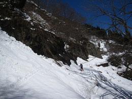 スキーで朝日鉱泉を目指す