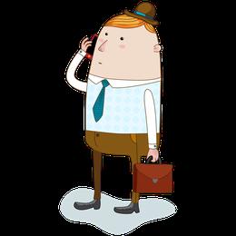 カバンを持ちスマホで電話する不動産鑑定士のイラストイメージ