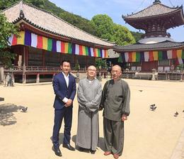 通訳の久保さん、法華学問寺の大煕和尚、浄土寺の小林住職(写真左から)