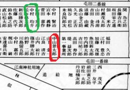 札幌郊外「篠路兵村」兵屋配置図      見延典子の曽祖父は中山景太郎の株養子になった。
