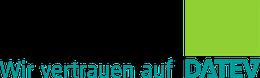 Logo DATEV mit Slogan - Wir vertrauen auf DATEV