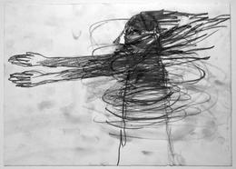 Otto Lehmann, Zeichnung Bleistift, Frau im Wirbel mit ausgestreckten Armen