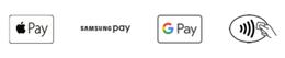 Bild mit verschiedenen Kreditkartensymbolen, wie Apple Pay und Google Pay, das auf kontaktlose Zahlung hinweist