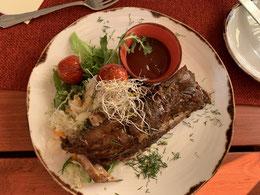 Estland, Tallinn, Reval, Altstadt, Peppersack, Elk ribs, Elch Rippchen, Abendessen, Restaurant, estnische Küche
