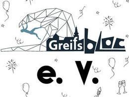 Schriftzug Greifsbloc e. V. mit Logo, Zeichnung von Luftballons, Sektgläsern