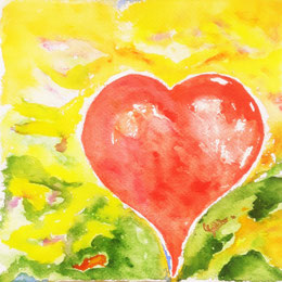 Bild Pulsierendes Herz, Aquarell, Christine Sattler, rot, grün, gelb