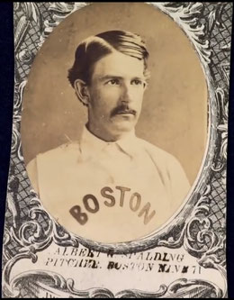 Nella foto Albert Spalding nella card del 1871 con i Boston Red Stockings