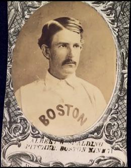 Nella foto Albert Spalding nella card del 1871 con i Boston Red Stockings