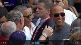 Nella partita di ieri tra le varie persone presenti c'era Derek Jeter qui conversa con il Presidente Obama
