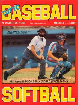 """Tuttobaseball Softball"" (La foto di copertina dedicata all'umpire statunitense donna  Pam Postema)"
