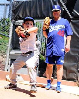 Una sezione di allenamento lanciatori al Los Angeles Dodgers baseball Camp