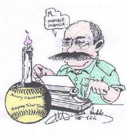 La caricatura di Michele Dodde mentre scrive un articolo