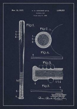 16 Novembre del 1937 Harold W. Herkimer brevetta la sua mazza da baseball (clicca sulla foto per allargare)