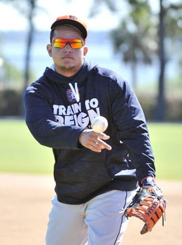 Nella foto Miguel Cabrera all'attuale spring training (Robin Buckson, Detroit News)