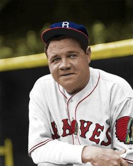 Una foto (attualizzata a colori) di Babe Ruth con i boston Braves