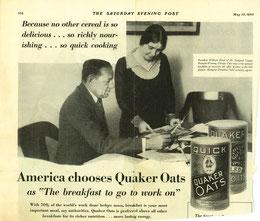 Nella foto Margaret Donahue e il Presidente in una foto pubblicitaria per prodotti da prima colazione. (foto da thenationalpastimemuseum.com)