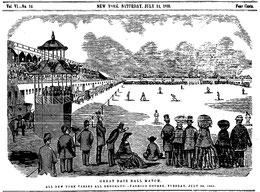 La raffigurazione di una partita giocata a New York il 20 Luglio del 1858 tra Brooklyn e New York davanti a un pubblico stimato tra 4.000 e 10.000 persone