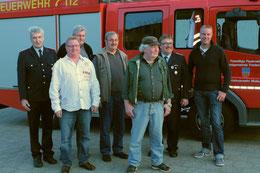 v.l.n.r. Orts-BM Heiner Heitmann, Otto Wandt, Hansi Meyn, Helmut Bardenhagen, Wilfried Buck, st.Orts-BM Volker Tomforde, Hauke Wiebusch. Nicht auf dem Bild: Jan Wölpern.