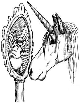 Zwei Einhörner blicken sich in die Augen; ein klassisches pferdeartiges sowie ein Rülpshorn, wie Emma es ist