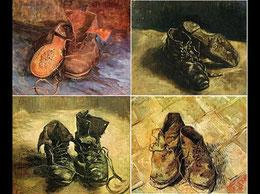 Quelques versions de chaussures peintes par Vincent Van Gogh.