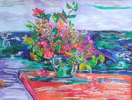 Le bouquet de la Poste, pastel gras et encre, Claire ALLARD, bouquet