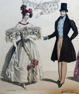 Modenzeitung 1832 Nr. 12. Herrenmode des Biedermeier. Foto: Nina Möller