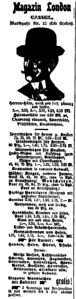 Zeitungsanzeige aus der Casseler Allgemeinen Zeitung, Ausgabe vom Mittwoch, 18.12.1907