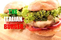 Italian Burger italienische Küche Sauerteig Burger Bun Balsamico Creme frische Basilikum Pesto