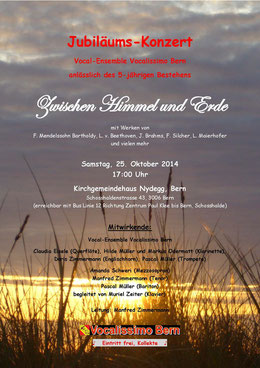 """Plakat zu unserem Jubiläums-Konzert """"Zwischen Himmel und Erde"""" vom 25.10.2014"""