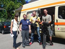 Irene Schwörer mit Film Team