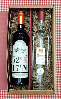 Präsent mit einer Flasche Mindener Rotspon und Mindener Weserwasser Obstler