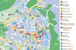 Der Stadtplan von Gerresheim für Flüchtlinge.                  Copyright: Andrea Osche