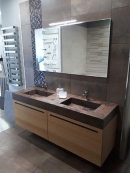 Mobile doppio lavabo Arbi Sky cm 170 con top laminam oxyde moro