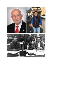 Foto farbig: Werner Barkey heute: Immer noch aktiv und voll im Leben. (Foto: SPD Riegelsberg)  Foto schwarz-weiß: v.l.n.r.: Werner Barkey, Klaus Winter und Horst Czudai in den 1980er Jahren auf einer Sitzung (Foto: SPD Riegelsberg)