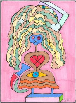 Mise en plis - Dessin original de Véronique CARUSO
