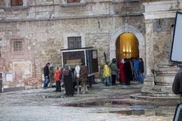 Dreharbeiten zu einem Historienfilm auf der Piazza Grande in Montepulciano.
