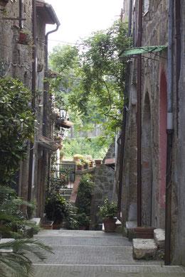 Mittelalterliche Häuser auf der Hochstadt von Pitgliano