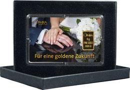 Goldgeschenk Motiv Hochzeit mit 5 g Gold