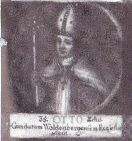 """Otto II. als 35. Bischof von Hildesheim auf einem Gemälde mit Medaillondarstellungen aller Hildesheimer Bischöfe bis zum Ende des 18. Jahrhunderts; lateinische Inschrift: """"Er fügte der Kirche die Grafschaft Wohldenberg hinzu."""""""