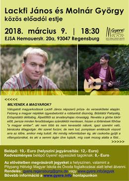 Lackfi János és Molnár György Regensburgban a hétvégi magyar iskolában
