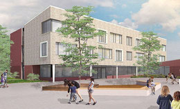 Zum Schulhof hin hat das Gebäude eine helle Fassade mit einem großen Eingangsbereich. Grafiken: Stadt Sehnde