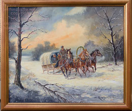 Russischer Pferdeschlitten, Dreispänner