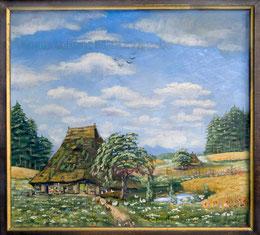 Bauernhaus mit Rietdach. Sommer