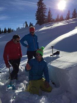 Schneeprofil mit sehr interessantem Schneedeckenaufbau