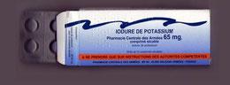 Boite de pastilles d'iodure de potassium distribuée par l'armée