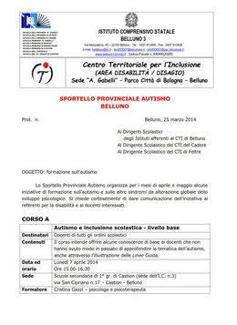 Comunicato incontro di formazione autismo 2013/14