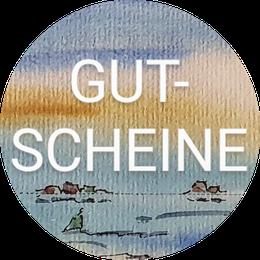 Eine Auswahl der Aquarelle und handbemalter Strandgut Kunst aus unserer Hallig Galerie