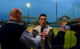 Nella foto Federico Celli (Organizzazione Dodgers) durante un'intervista