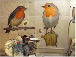 Rotkehlchen, Acryl auf Chinapapier, ca. 100 x 120/170 cm